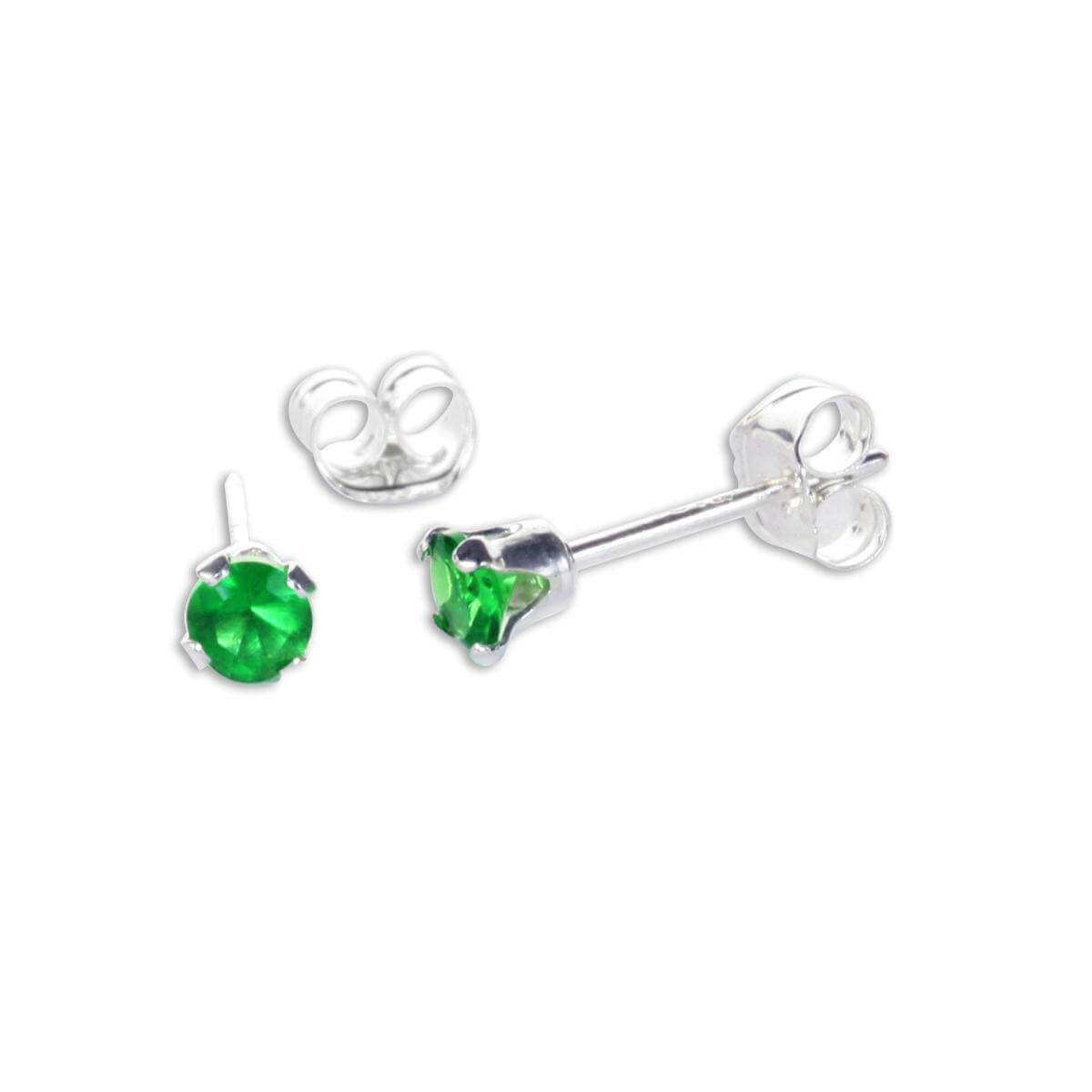 Sterling Silver Emerald CZ 3mm Round Stud Earrings