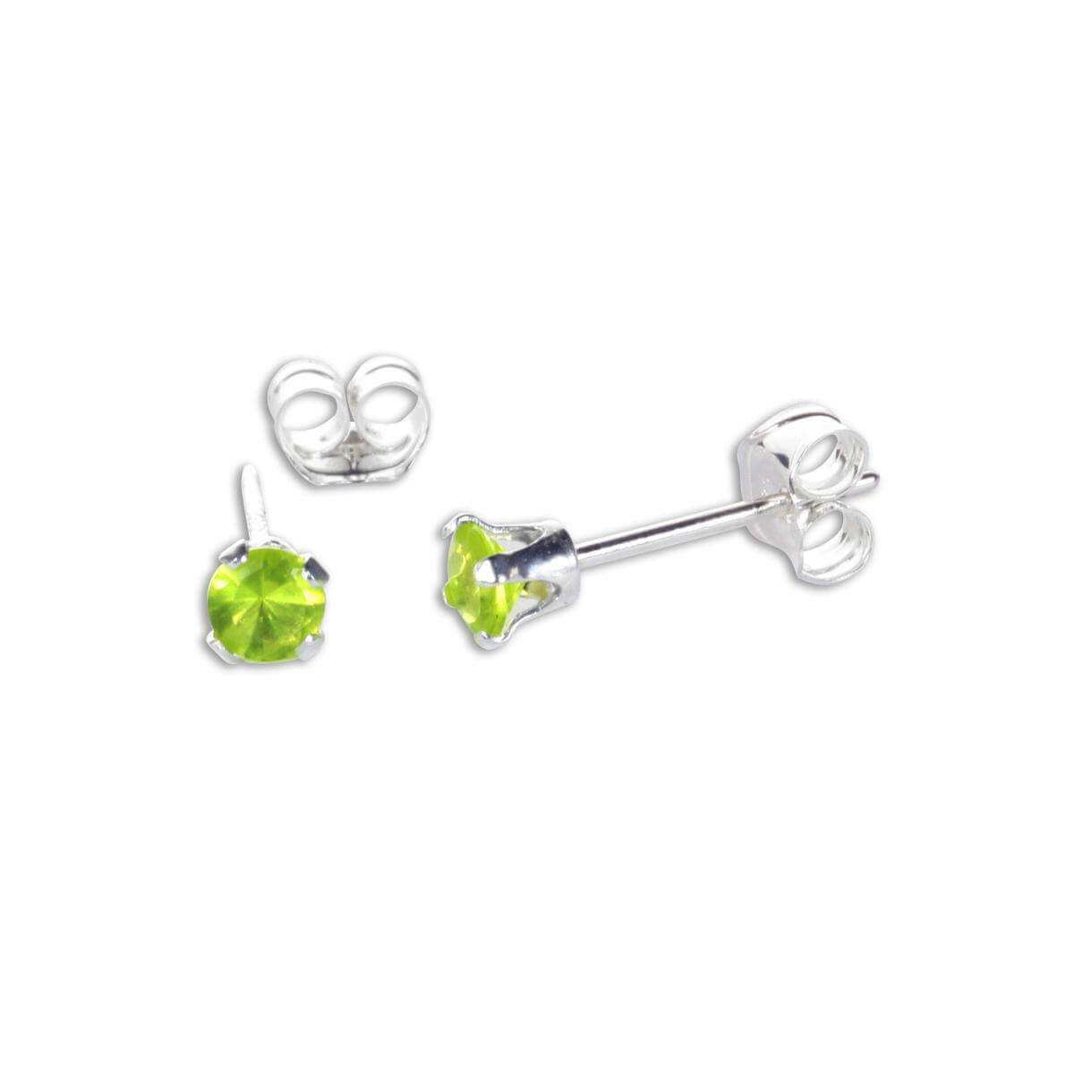 Sterling Silver Peridot CZ 3mm Round Stud Earrings