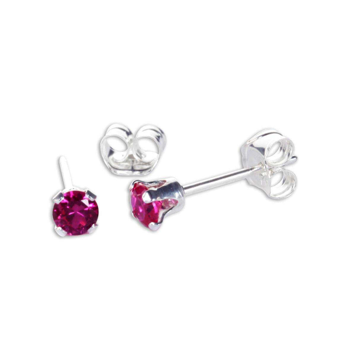 Sterling Silver Ruby CZ 3mm Round Stud Earrings