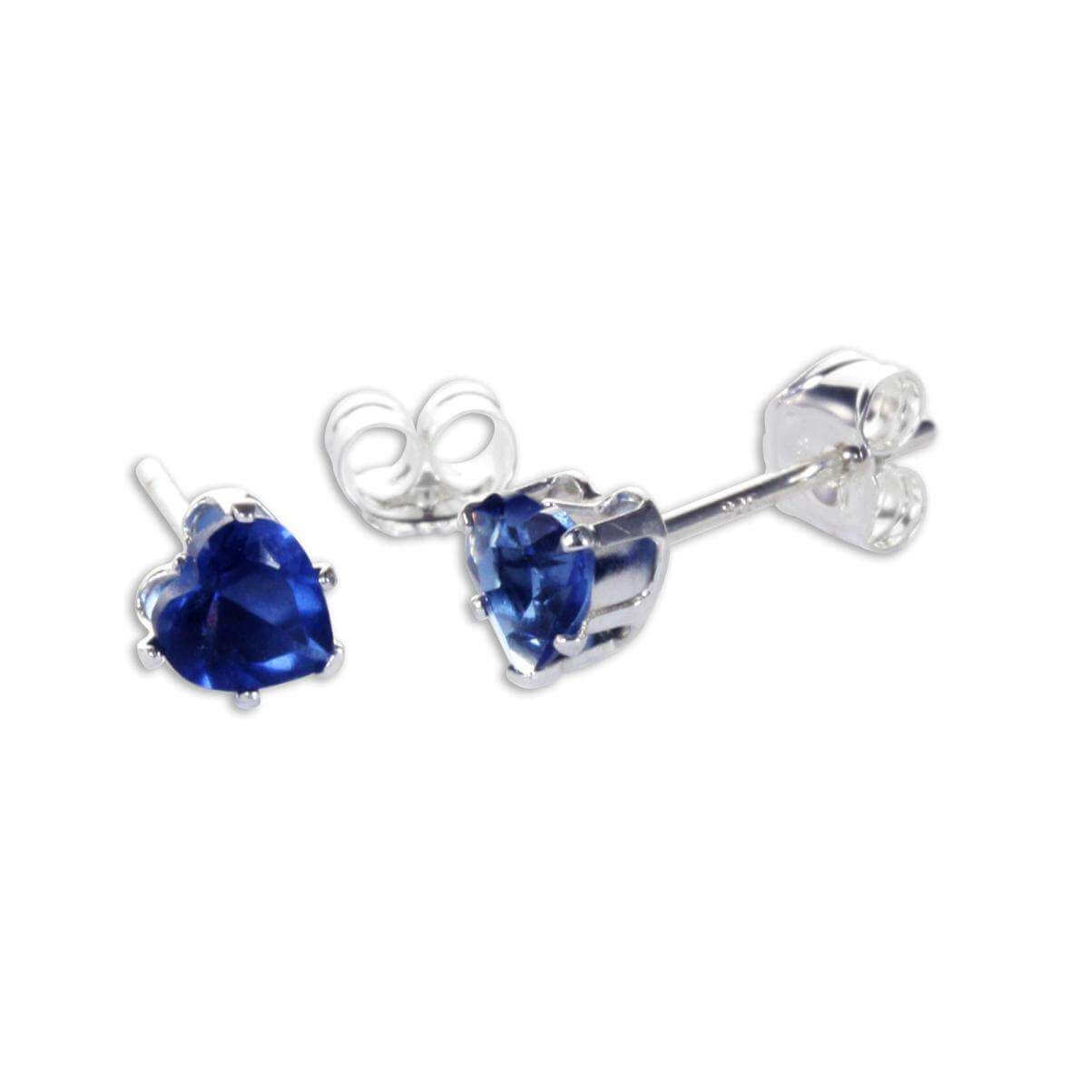 Sterling Silver Sapphire CZ 4mm Heart Stud Earrings