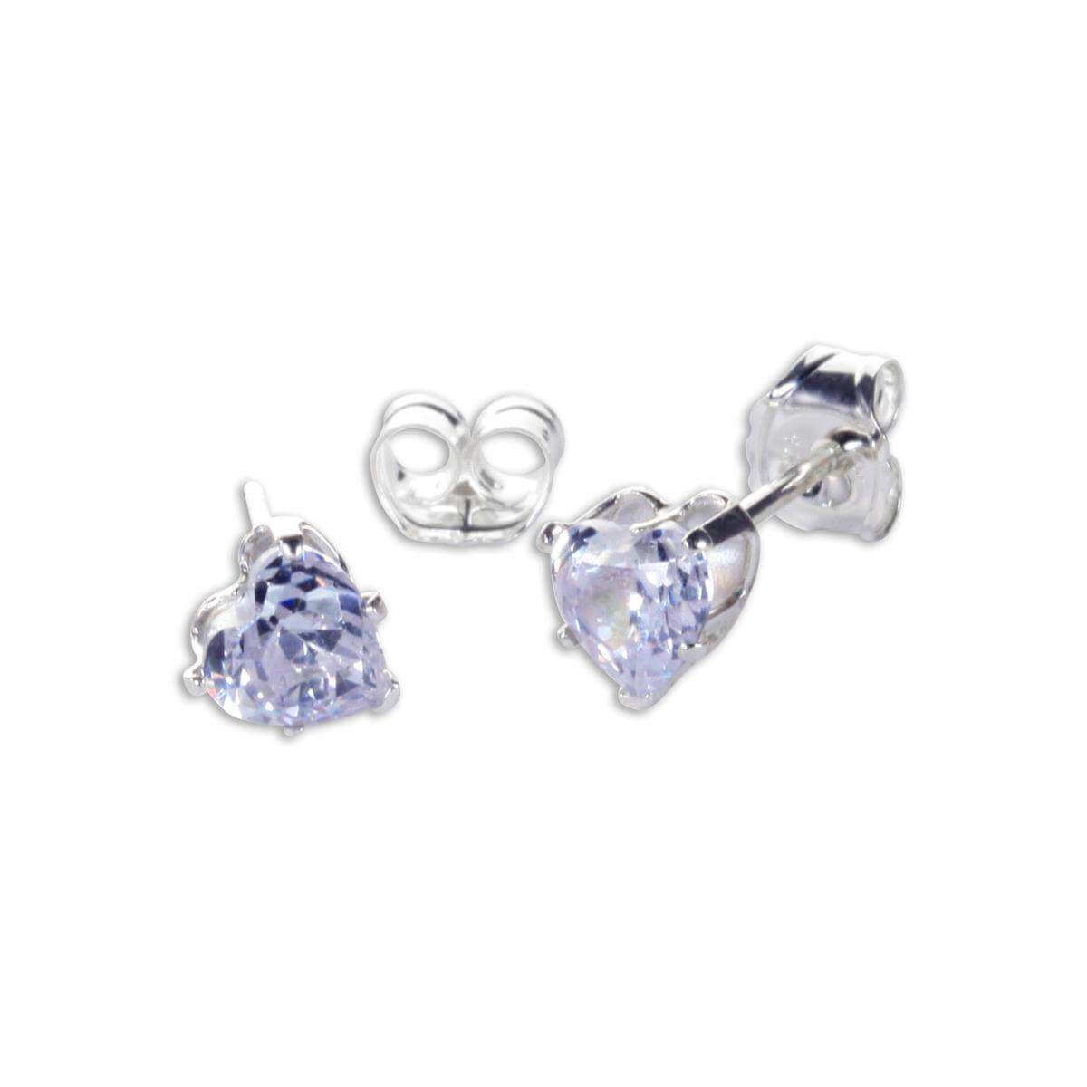 Sterling Silver Lavender CZ 4mm Heart Stud Earrings