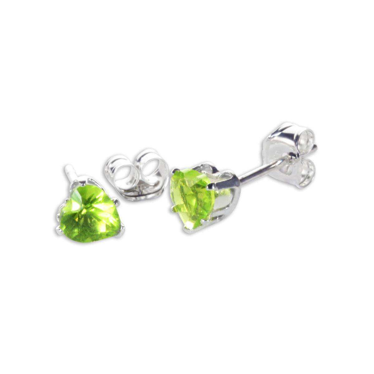 Sterling Silver Peridot CZ 4mm Heart Stud Earrings