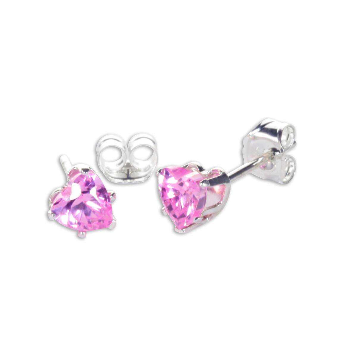 Sterling Silver Pink CZ 4mm Heart Stud Earrings
