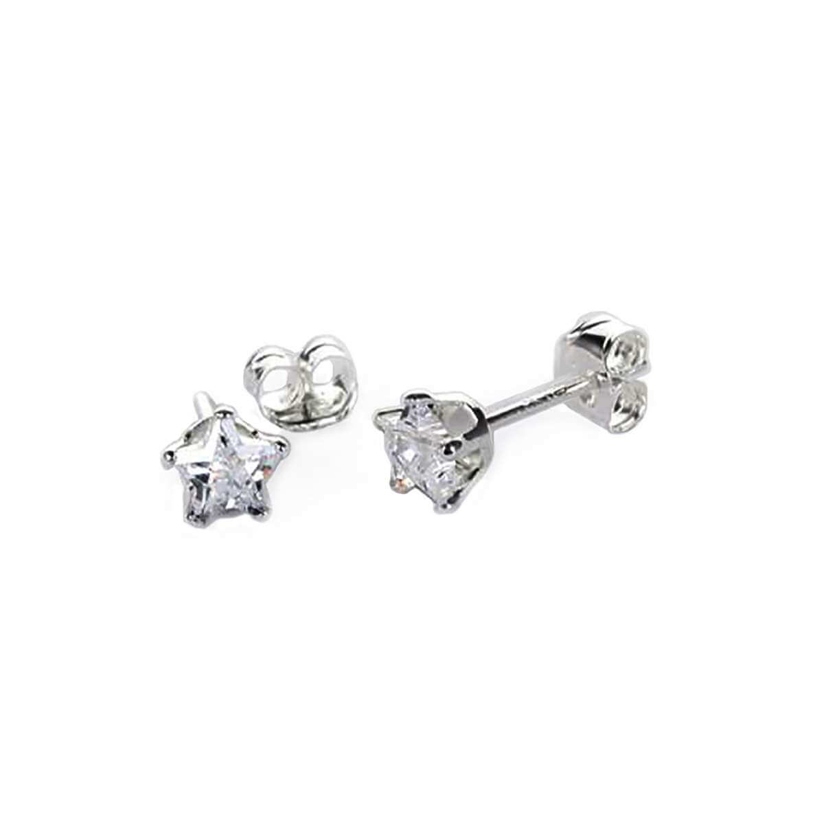 Sterling Silver Clear CZ 4mm Star Stud Earrings