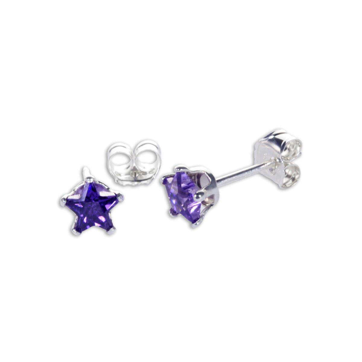 Sterling Silver Amethyst CZ 4mm Star Stud Earrings