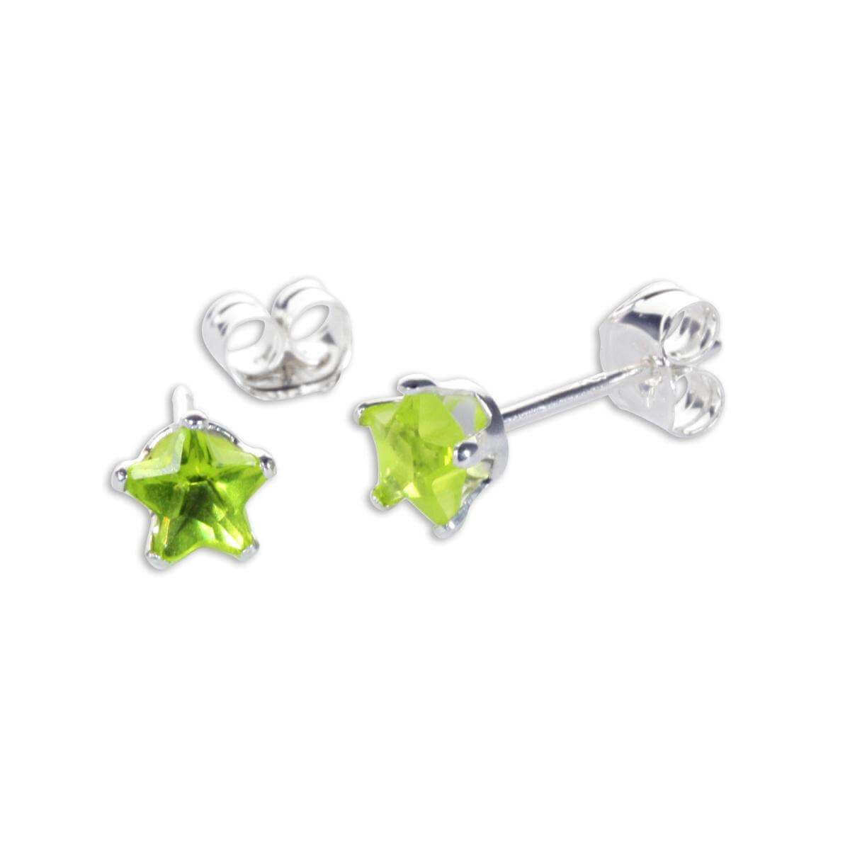 Sterling Silver Peridot CZ 4mm Star Stud Earrings