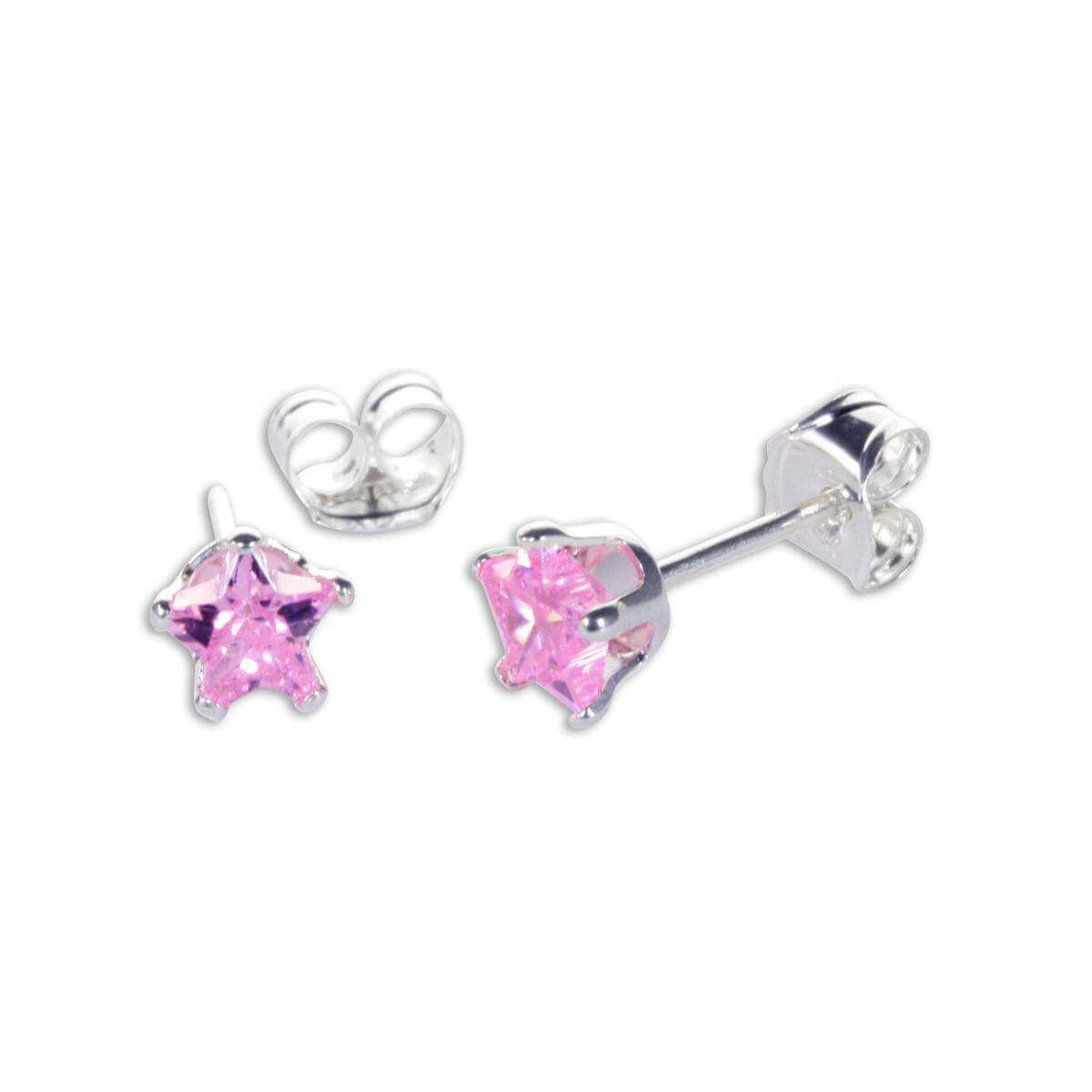 Sterling Silver Pink CZ 4mm Star Stud Earrings