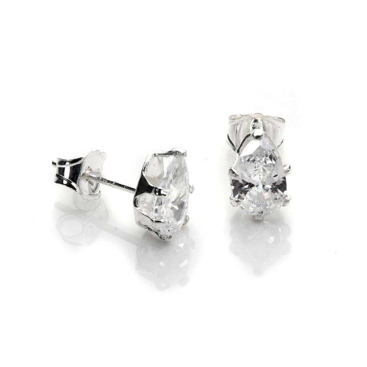 Sterling Silver Clear CZ Pear Stud Earrings