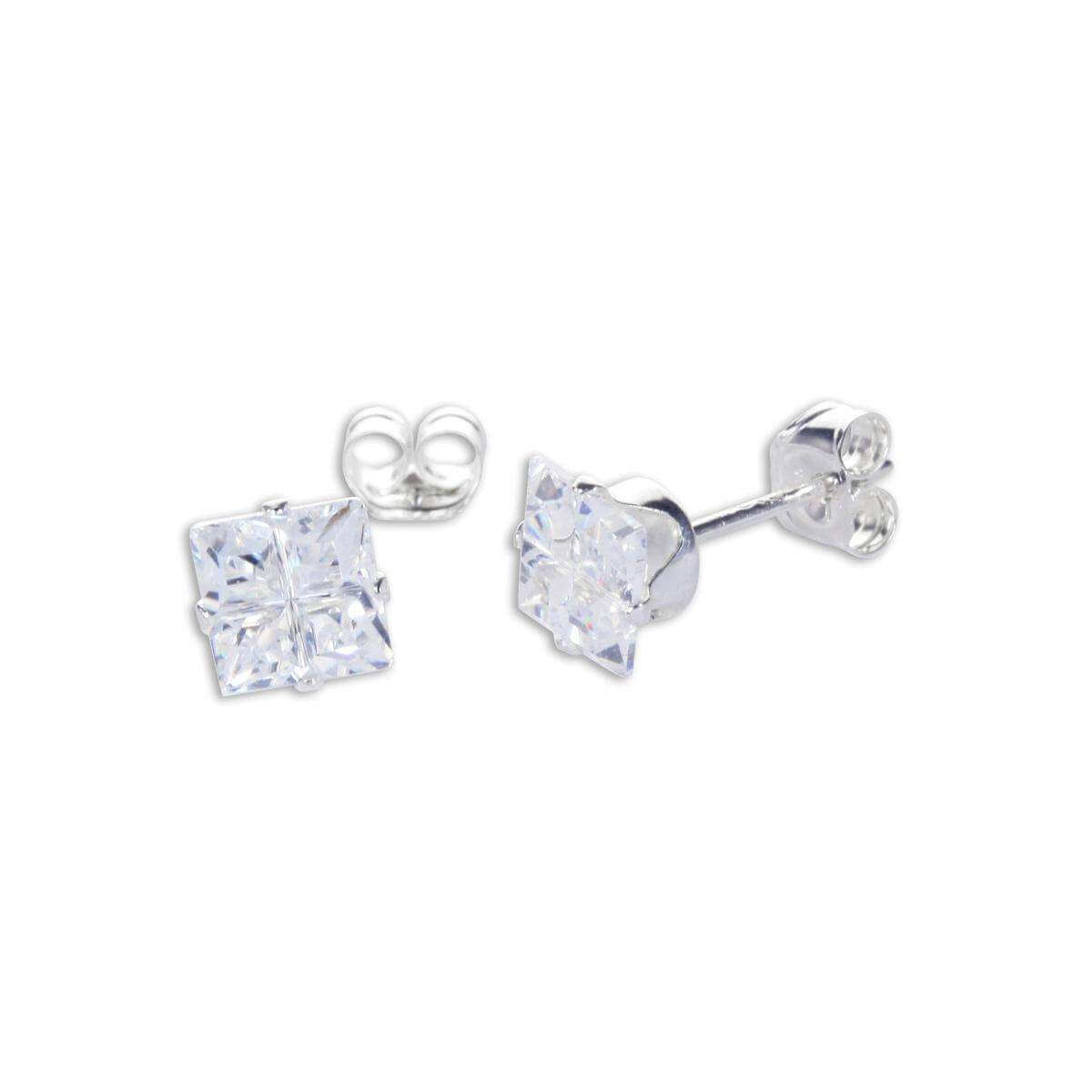 Sterling Silver Clear CZ Invisible Set Square Stud Earrings
