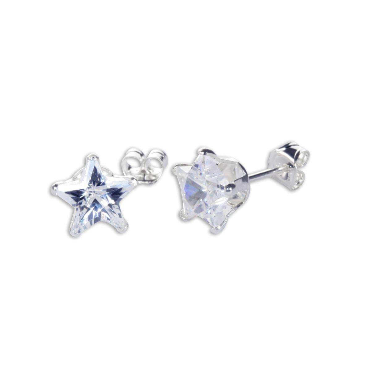 Sterling Silver Clear CZ 7mm Star Stud Earrings