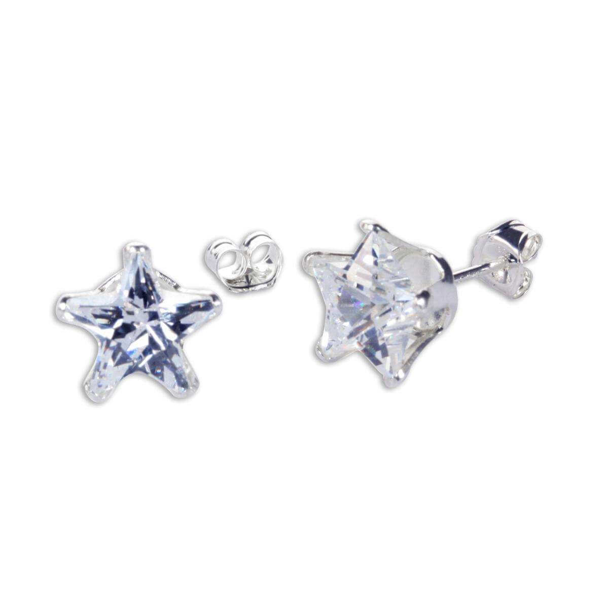 Sterling Silver Clear CZ 8mm Star Stud Earrings