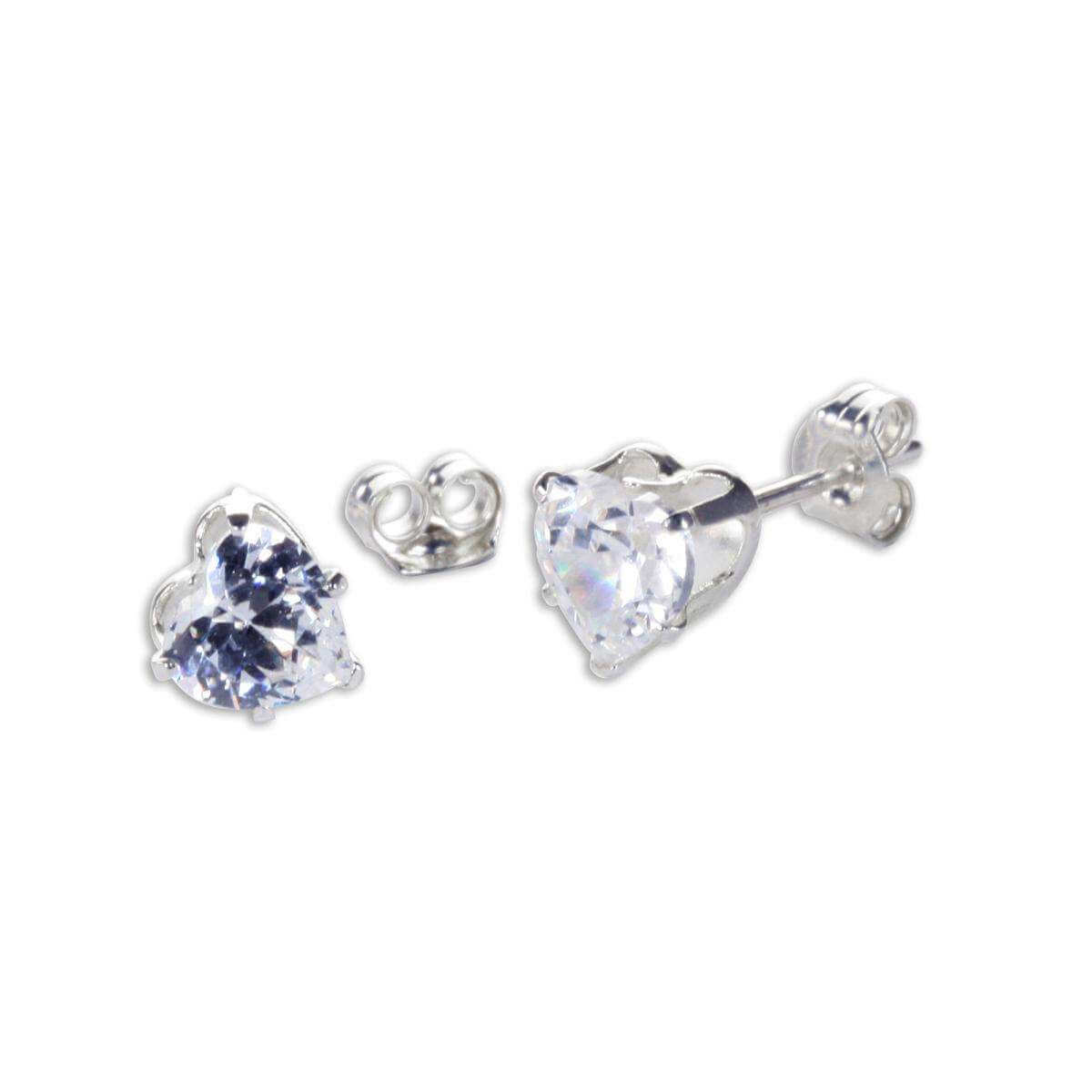 Sterling Silver Clear CZ 5mm Heart Stud Earrings