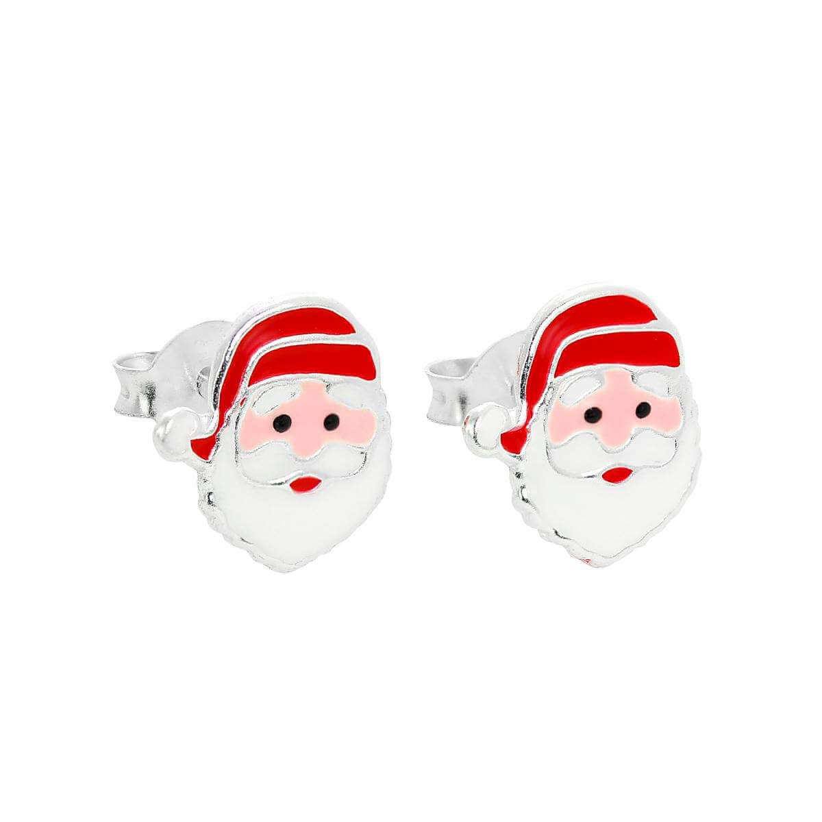 Cute Sterling Silver & Enamel Santa Claus Christmas Stud Earrings