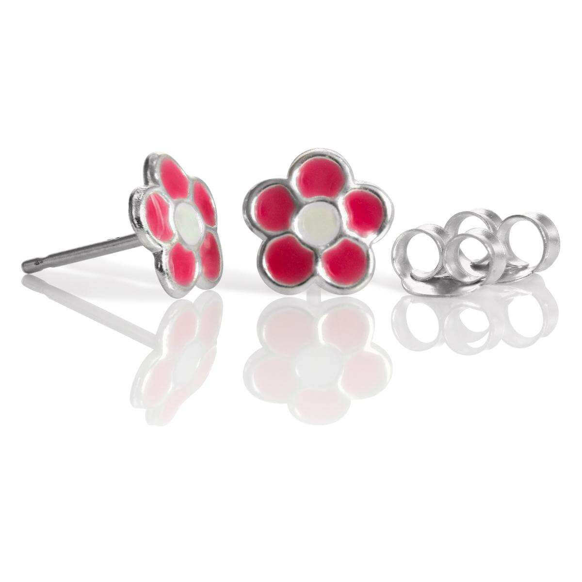 Sterling Silver & Pink Enamel Flower Stud Earrings