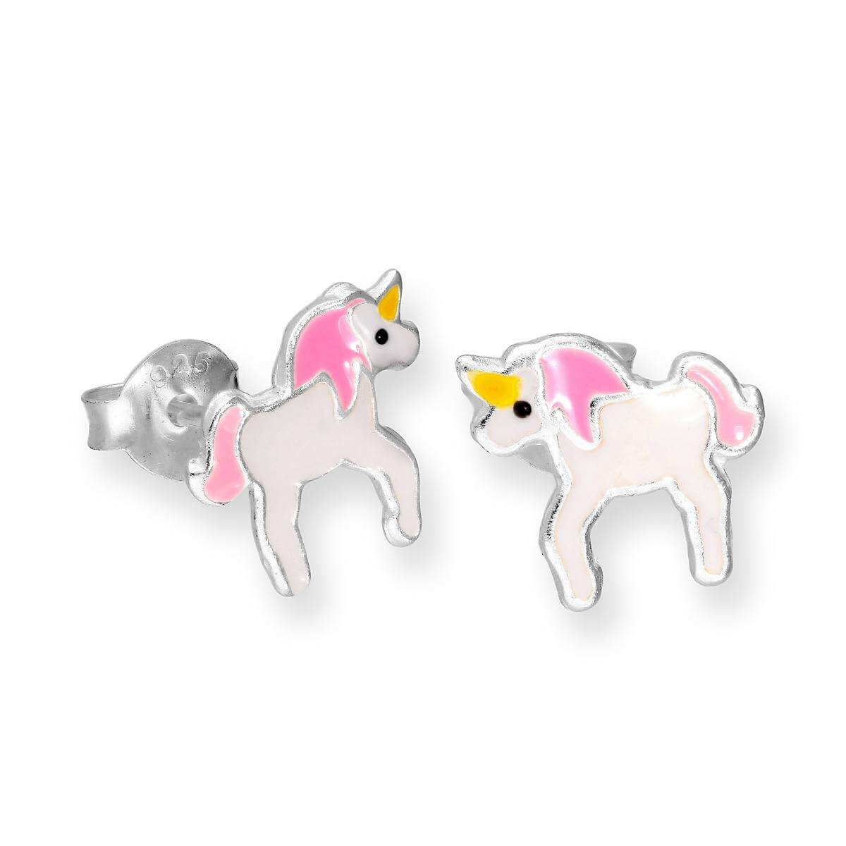 Sterling Silver & Enamel Unicorn Stud Earrings