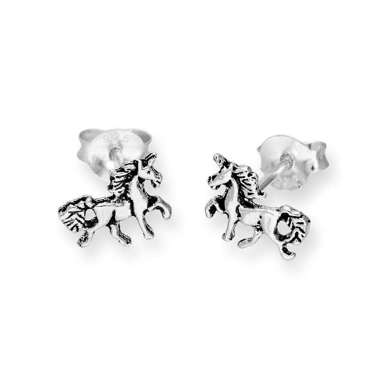 Small Sterling Silver Unicorn Stud Earrings