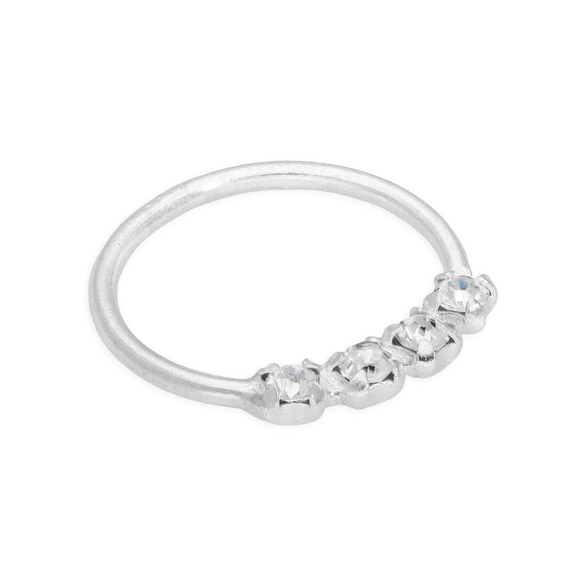 Sterling Silver 11mm Nose Ring with 4 Clear CZ Crystals 20Ga