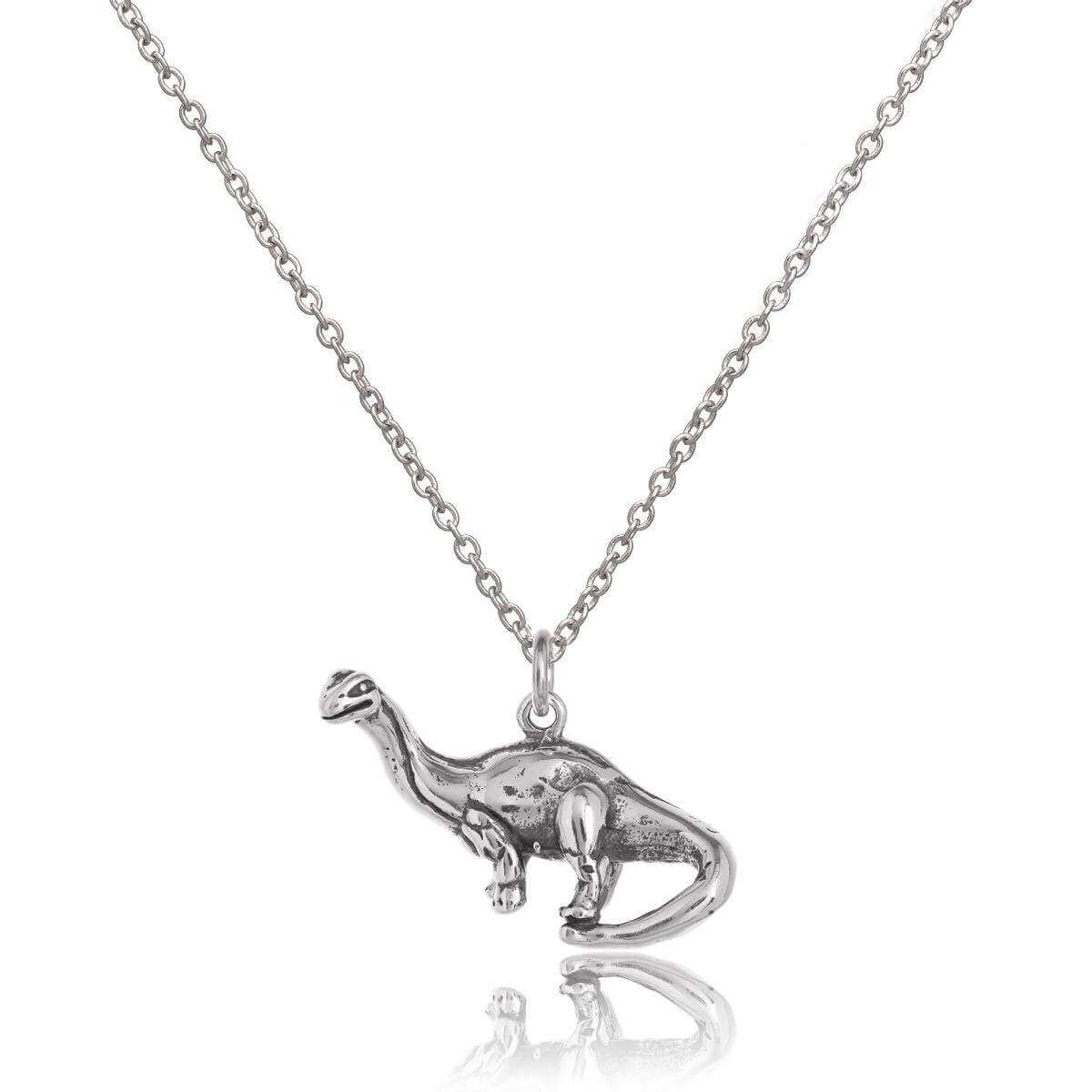 Sterling Silver Brontosaurus Dinosaur Necklace