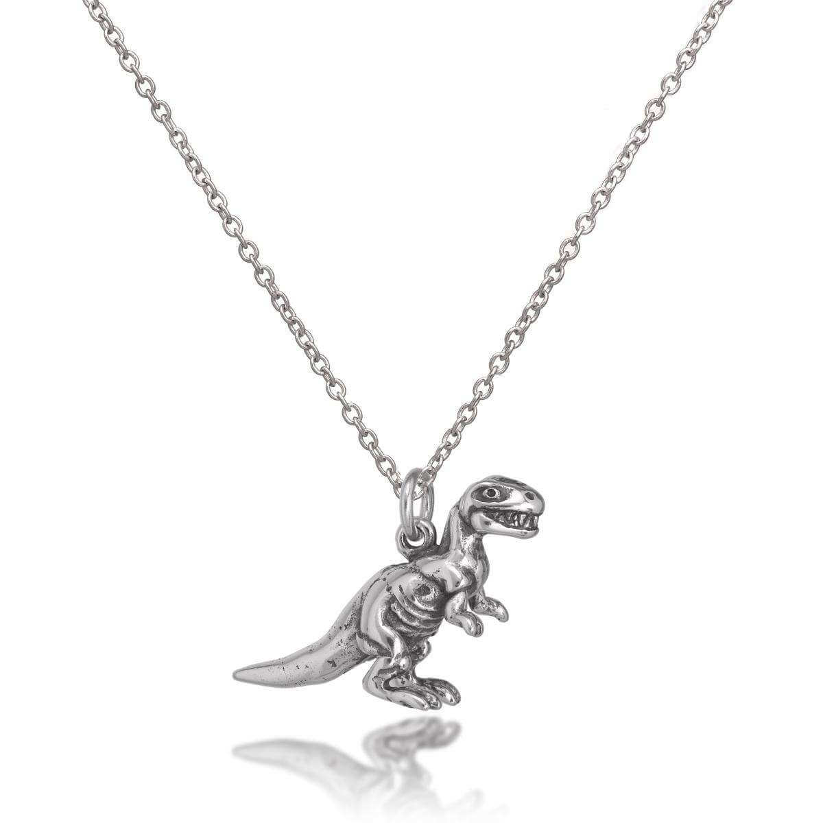 fine dinosaur gold pin pendant silver necklace