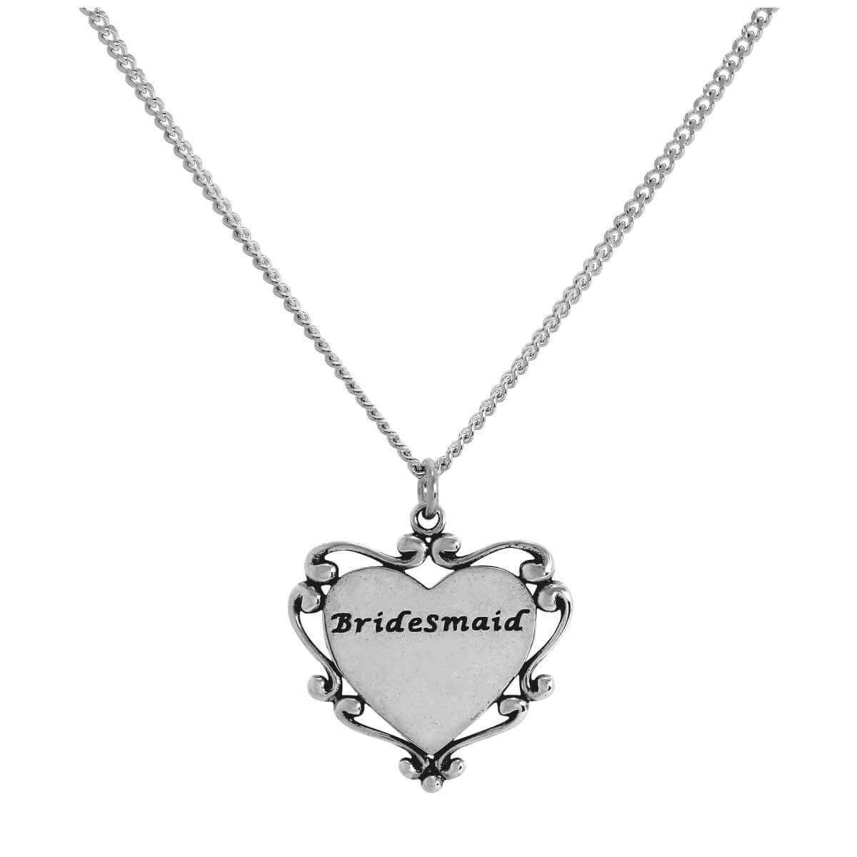 Sterling Silver Bridesmaid Heart Pendant on Chain 16 - 24 Inches