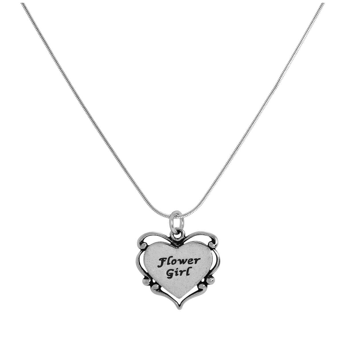 Sterling Silver Flower Girl Heart Pendant on Chain 14 - 22 Inches