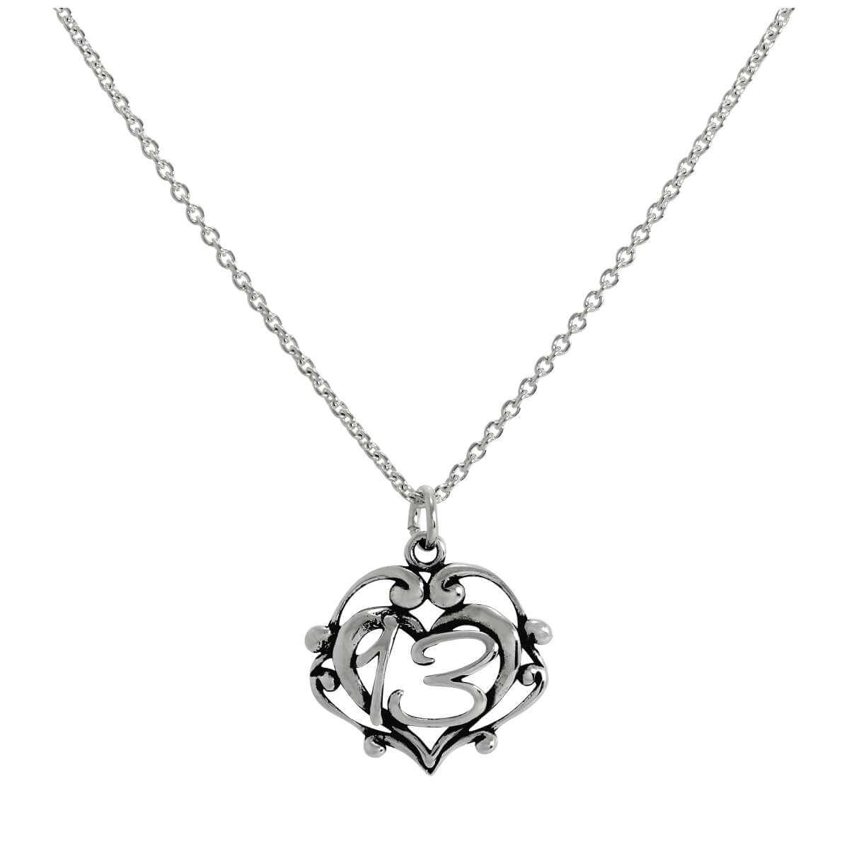 Sterling Silver Filigree Open Heart 13th Birthday Pendant Necklace 16 - 24 Inches