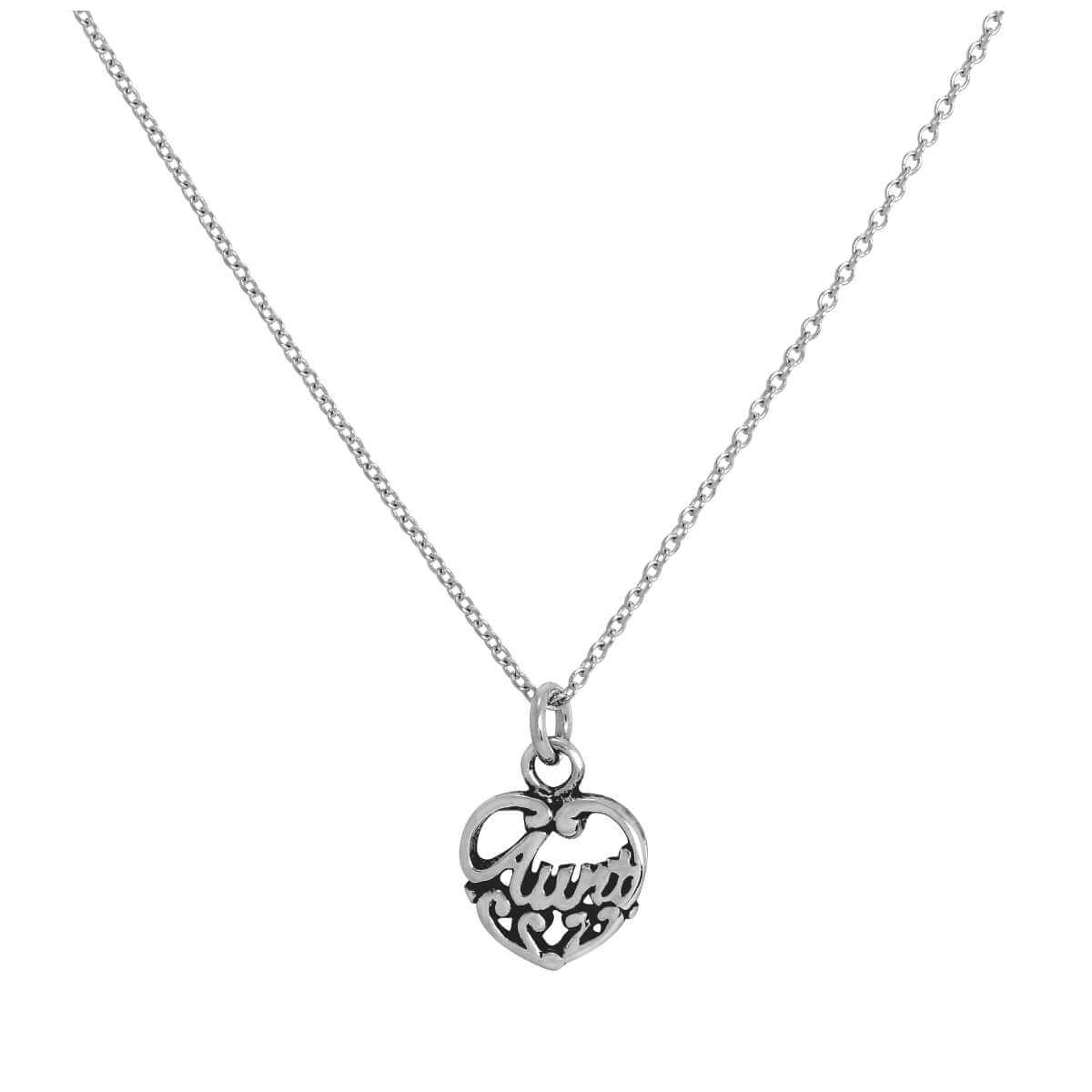 Sterling Silver Filigree Aunt Love Heart Pendant Necklace 16 - 32 Inches