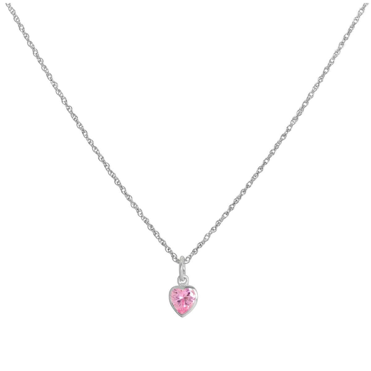 Sterling Silver Pink Heart Crystal Pendant Necklace 14 - 22 Inches