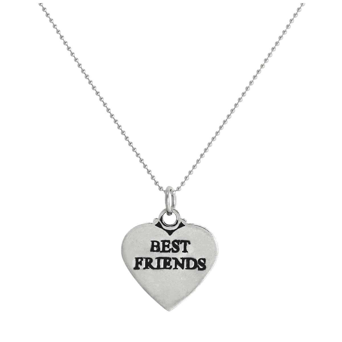 Sterling Silver Best Friends Heart Pendant Necklace 14 - 22 Inches