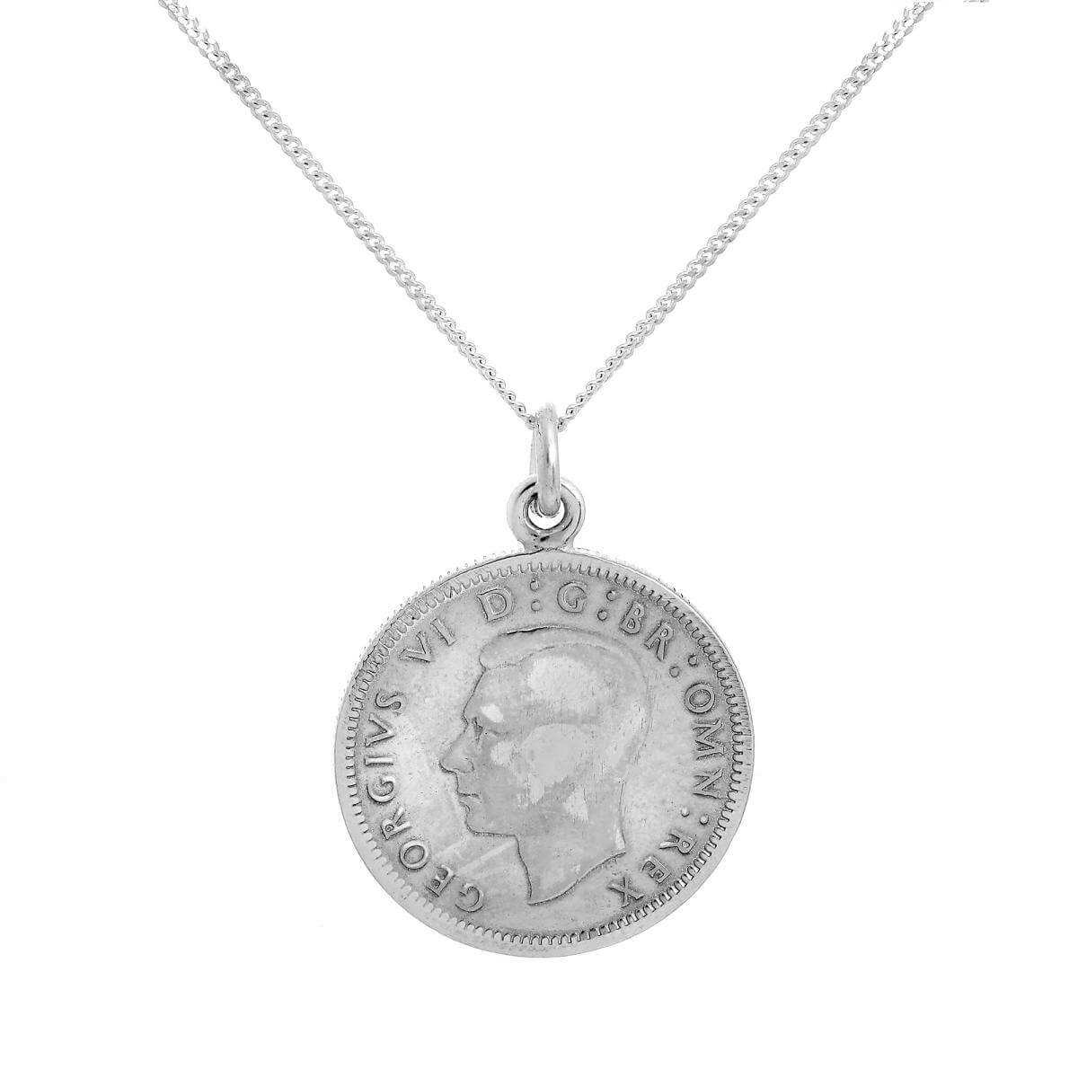 Sterling Silver Lucky Sixpence Pendant Necklace