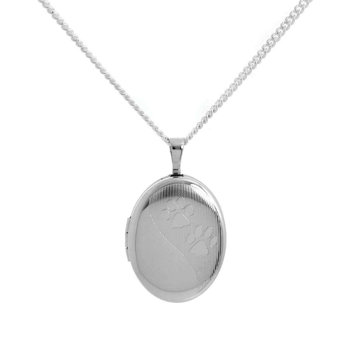 Sterling Silver Animal Paw Print Oval Locket on Chain