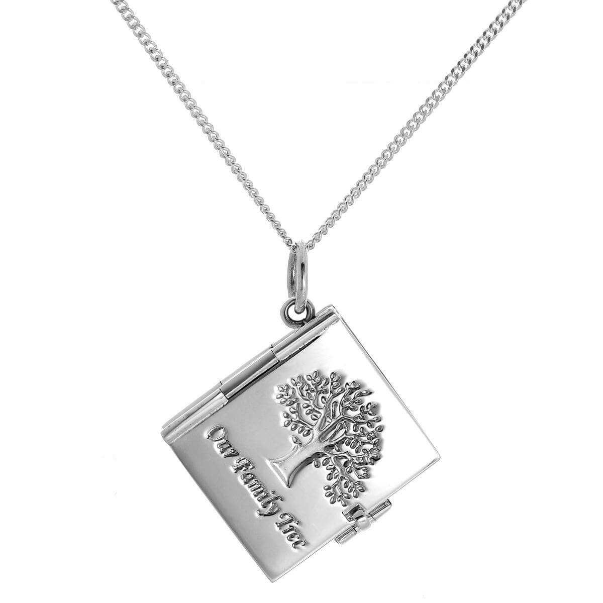Sterling Silver Family Tree 6 Photo Locket Book on Chain