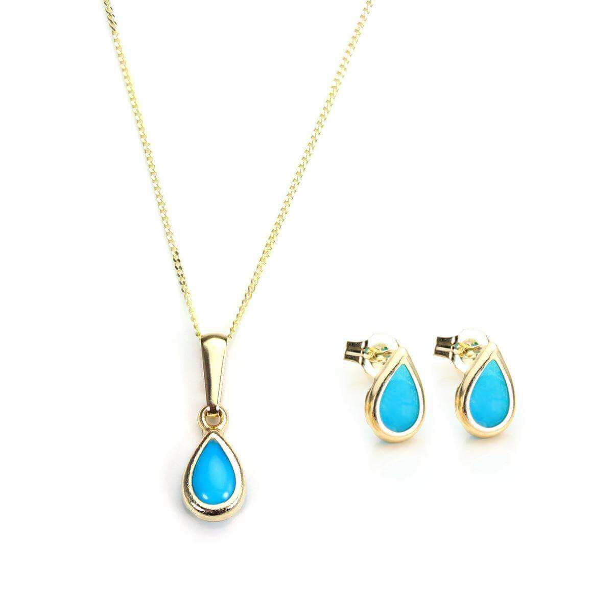 9ct Gold & December Birthstone Pendant & Stud Earrings Set