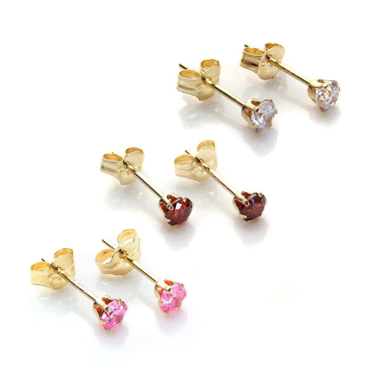 9ct Gold 3mm Crystal Stud Earrings Set