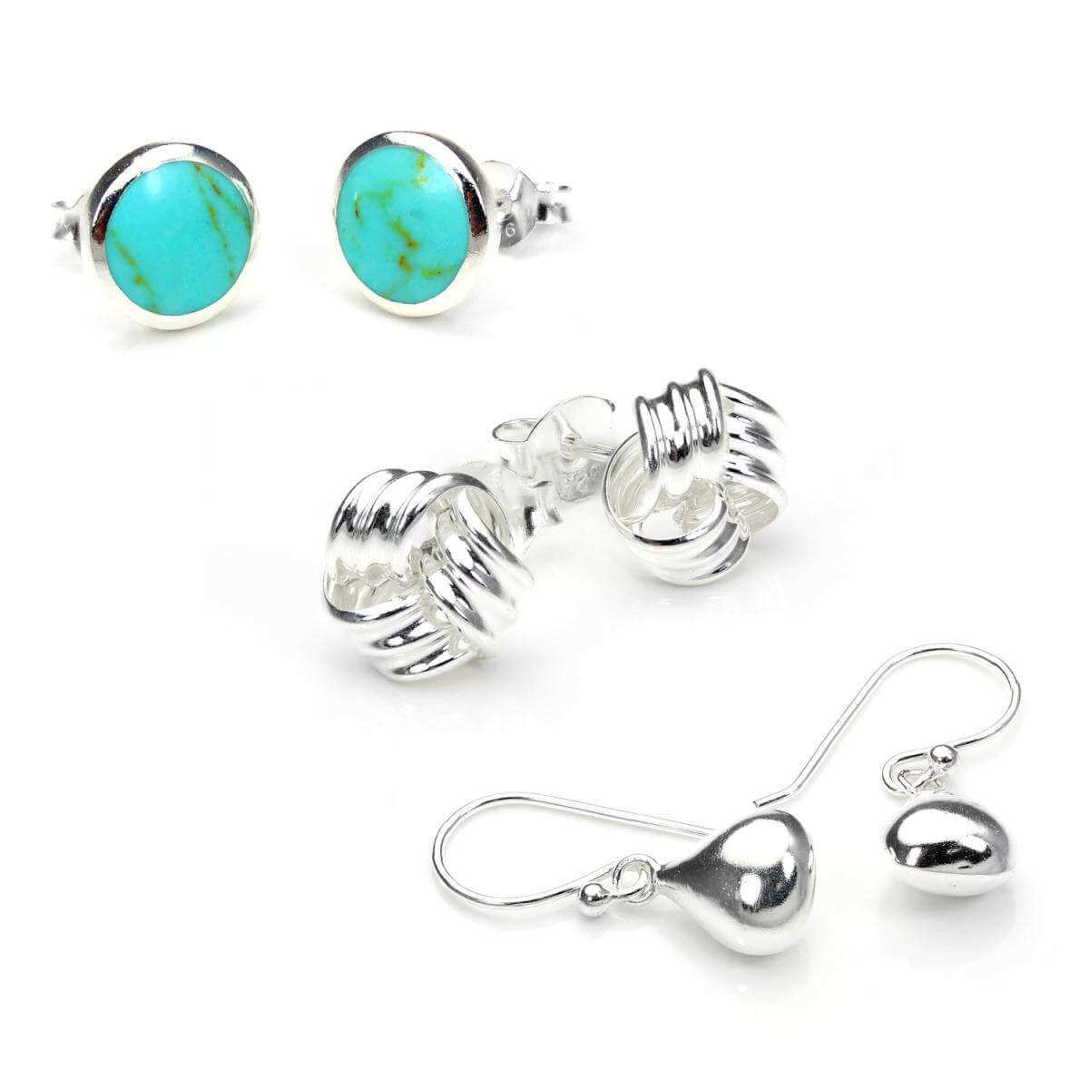Sterling Silver Fashion Stud & Drop Earrings Set