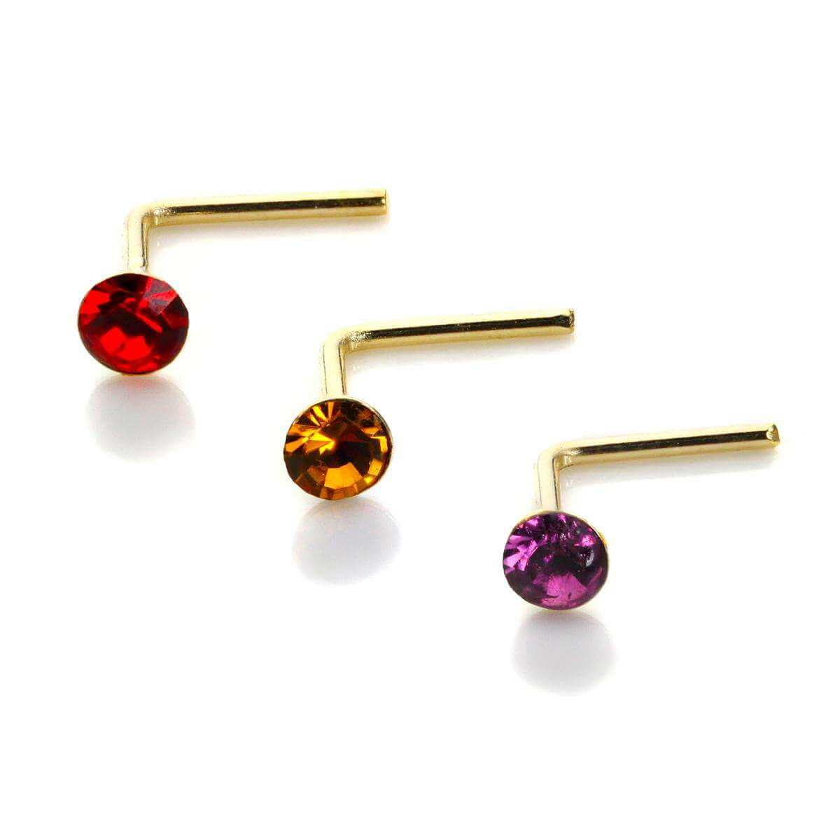9ct Gold Round Crystal 2mm Nose Stud Set