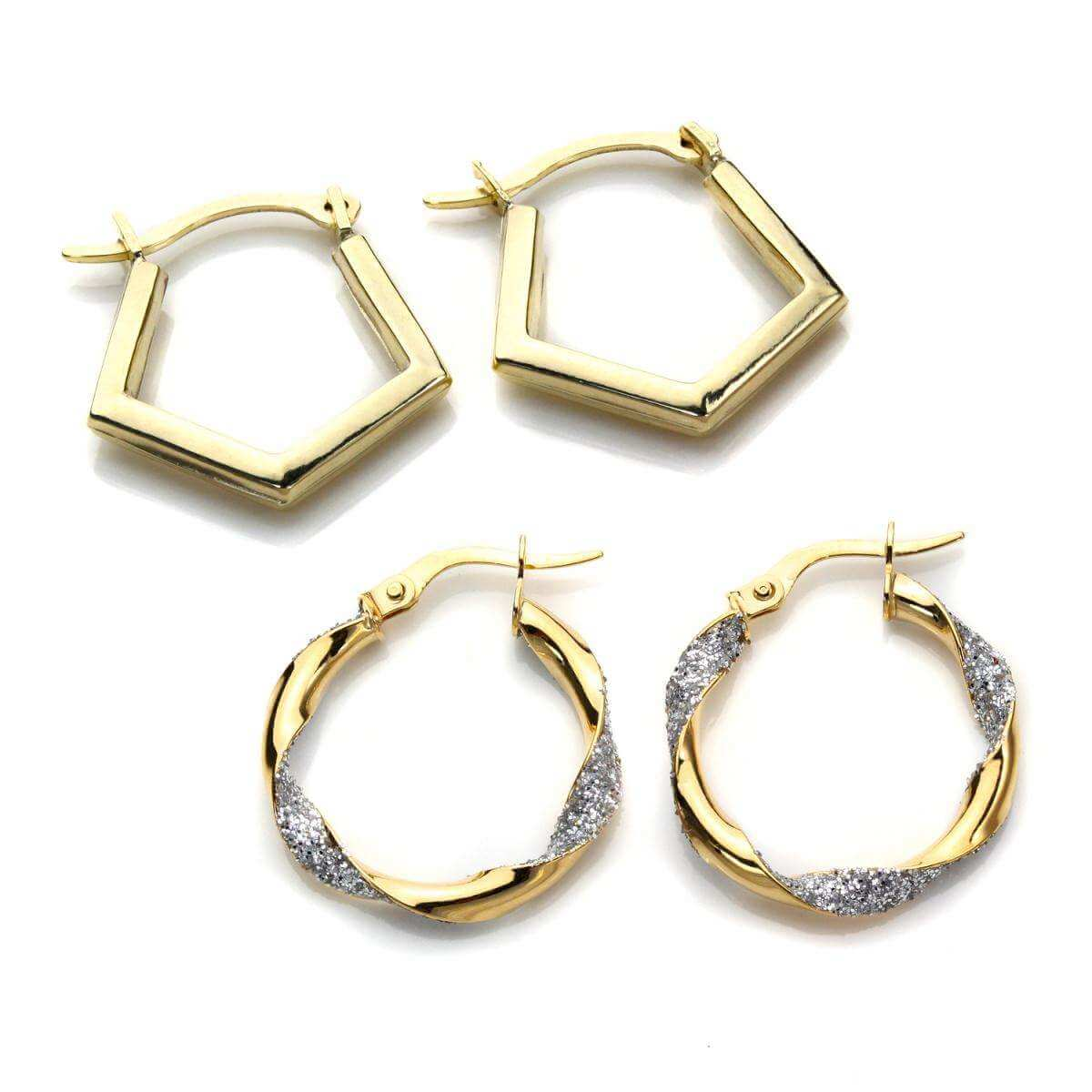 9ct Gold Geometric Hoop Earrings Set
