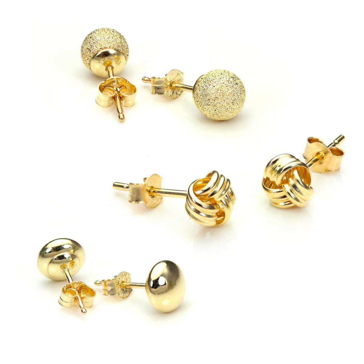 9ct Gold Classic Luxury 5mm Stud Earrings Set
