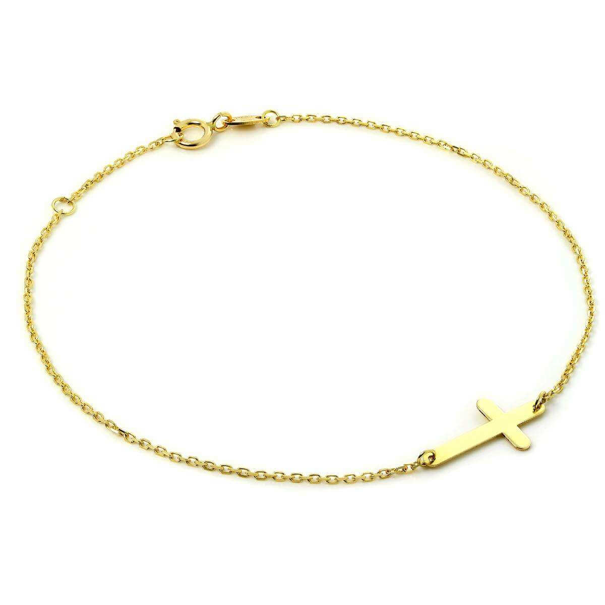 Fine 9ct Gold Trace Chain Bracelet with Cross 7.5 Inches