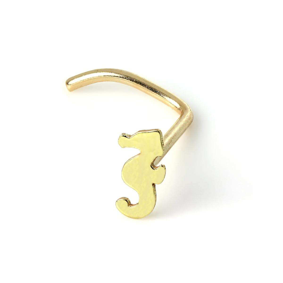 9ct Yellow Gold Seahorse Nose Screw