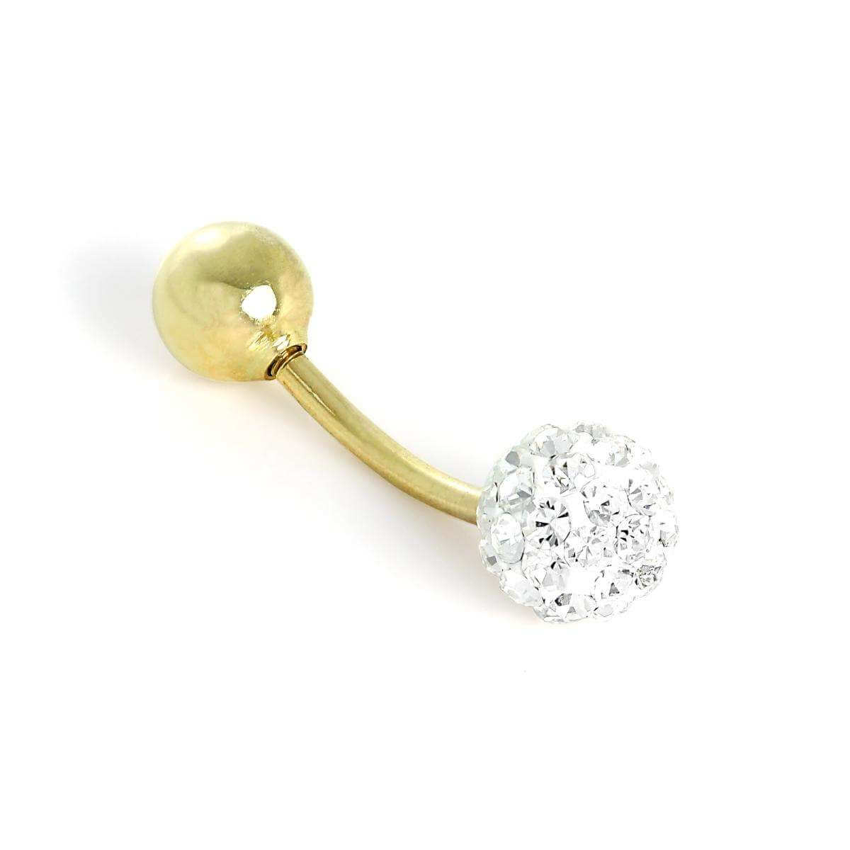 9ct Gold & Clear CZ Crystal Ball Belly Bar
