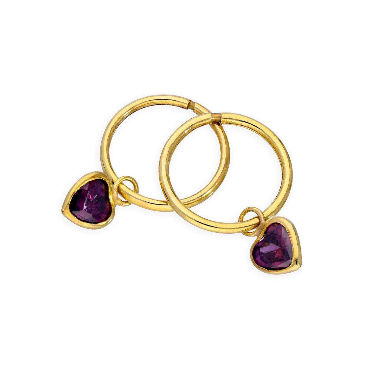9ct Gold & Purple CZ Crystal Heart Hoop Earrings