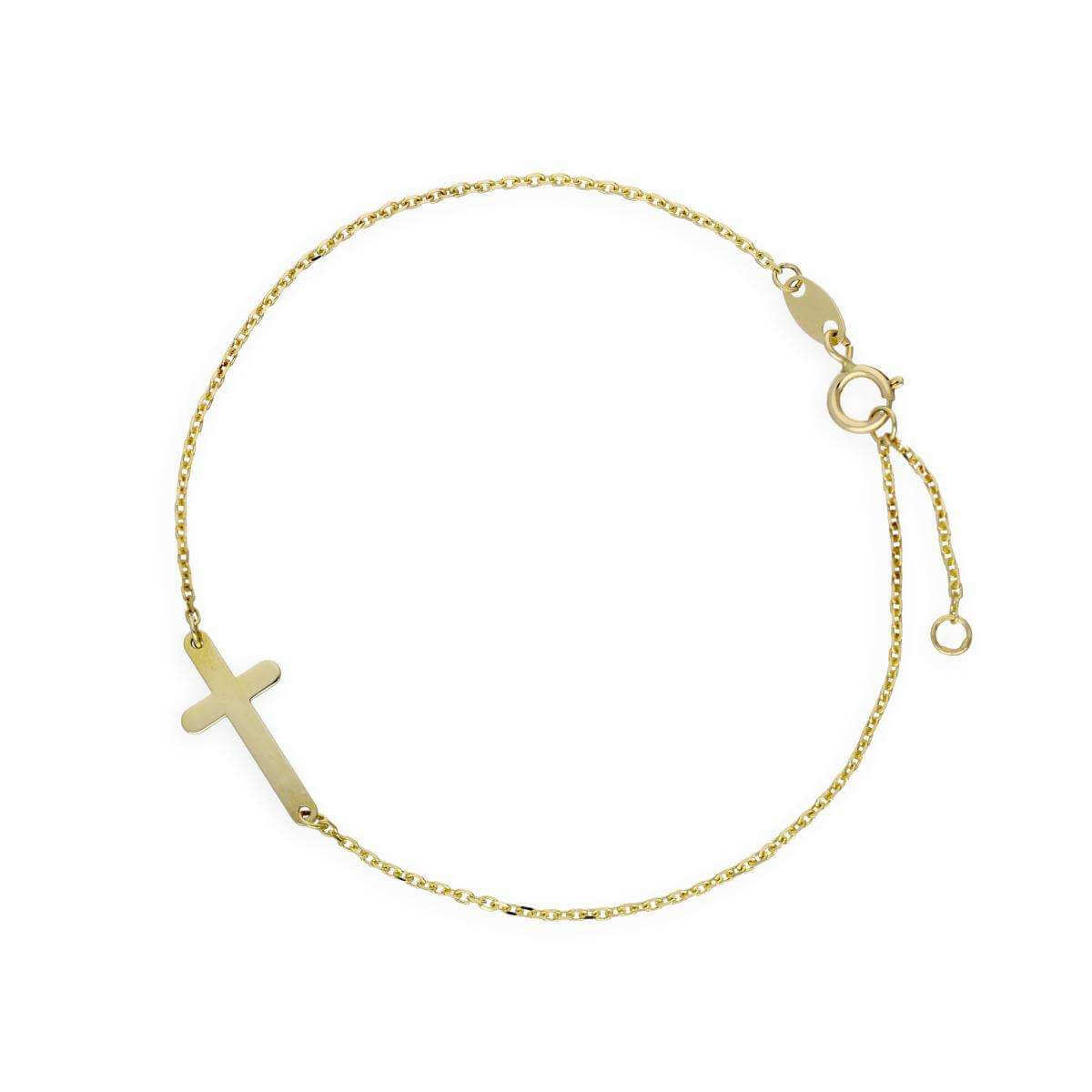 9ct Gold Cross Bracelet 5.5 Inches 6.5 Inches 7 Inches