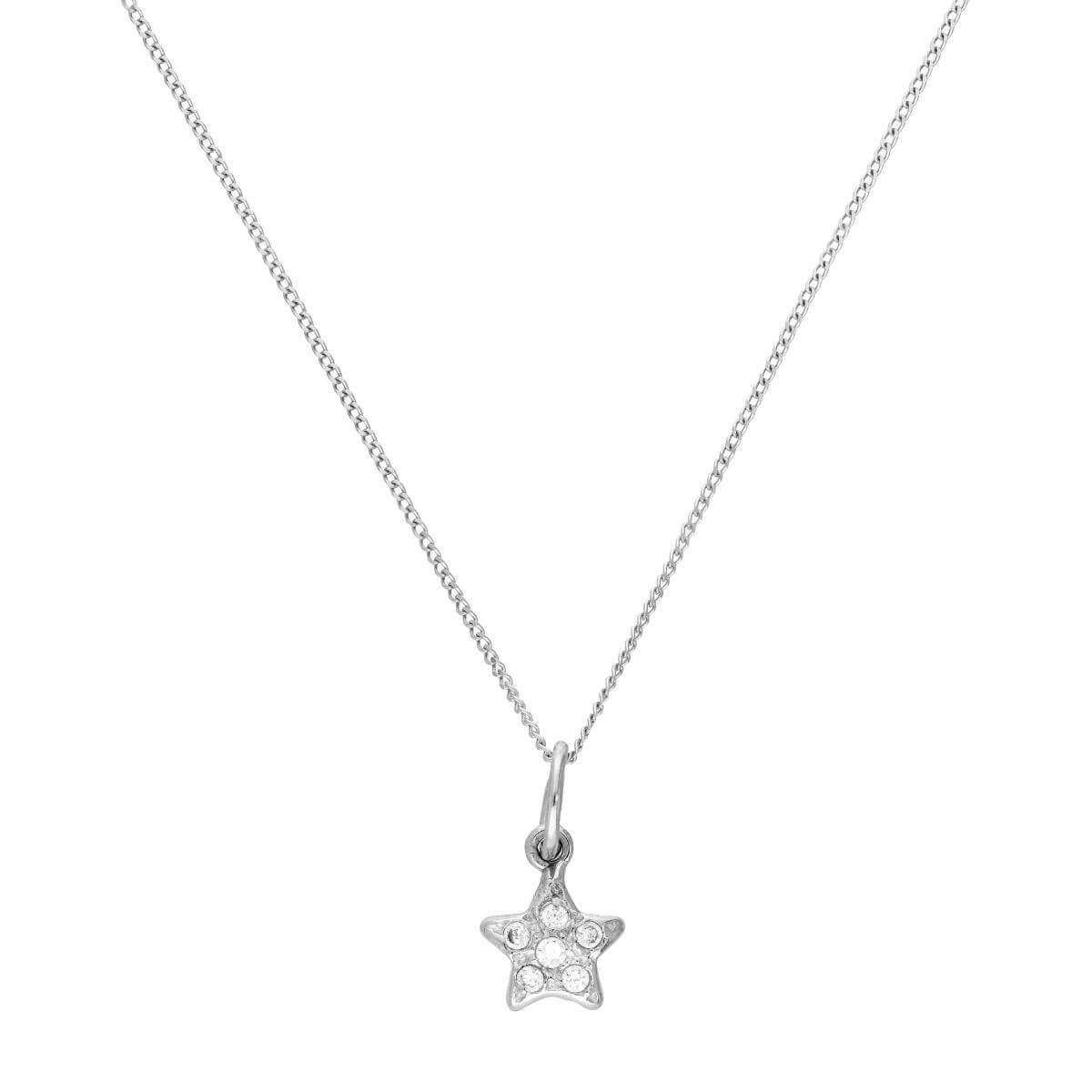 9ct White Gold & Clear CZ Crystal Star Pendant Necklace 16 - 20 Inches