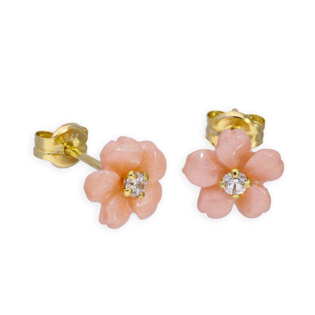 9ct Gold & Clear CZ Crystal Pink Flower Stud Earrings