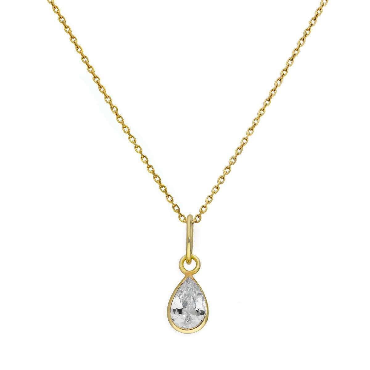 9ct Gold & Clear CZ Crystal Teardrop Pendant Necklace 16 - 20 Inches