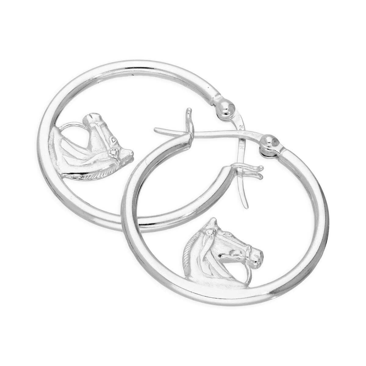 Sterling Silver 25mm Horse Hoop Earrings