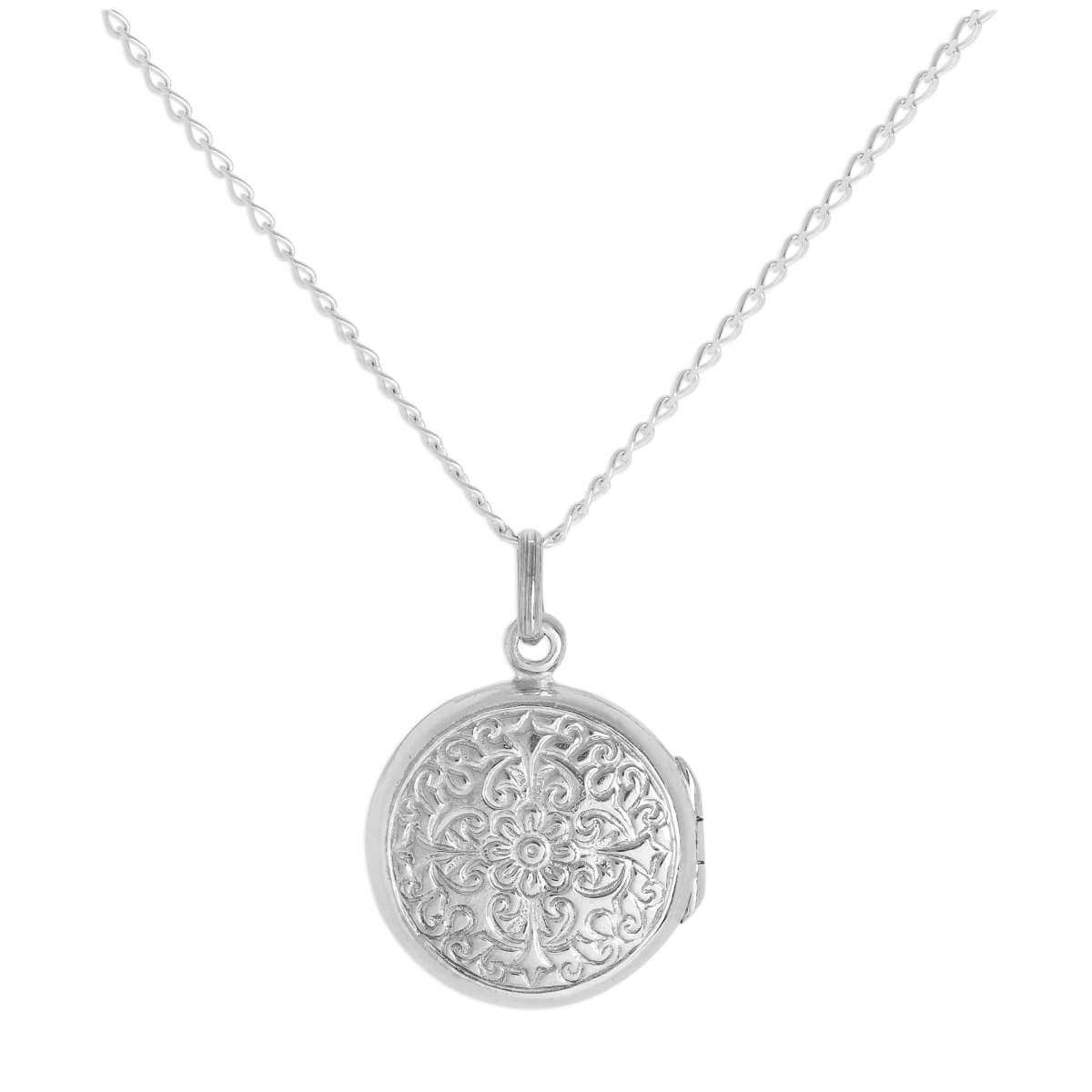 Small Round Sterling Silver Flower Locket on Chain 16 - 24 Inches