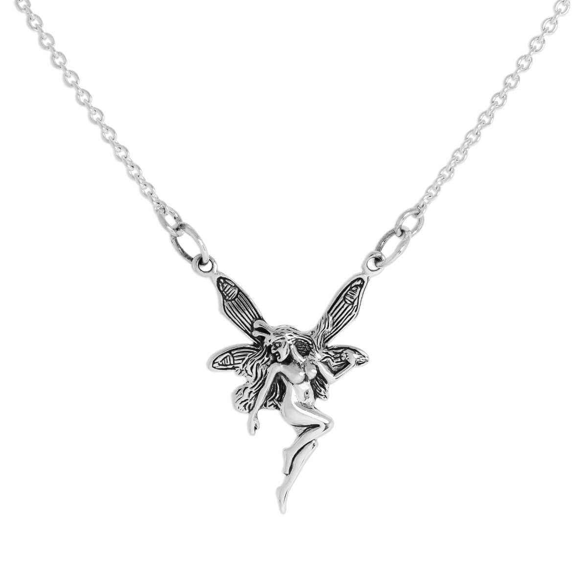 Sterling Silver Winged Fairy Pendant on 14 Inch Diamond Cut Chain