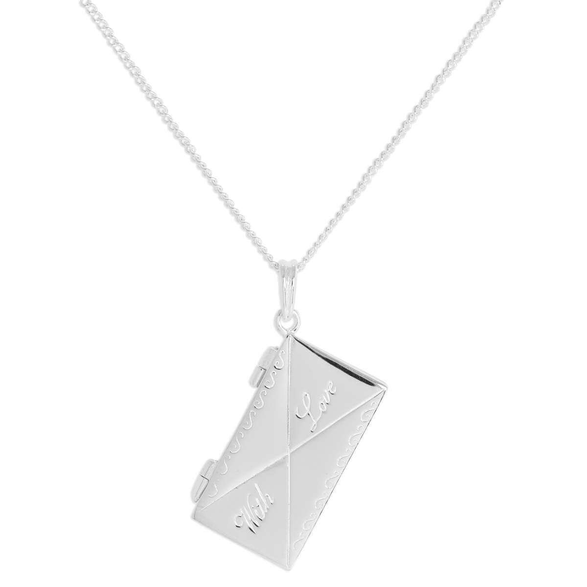 Sterling Silver 'With Love' Opening Envelope Pendant on 16 Inch Chain